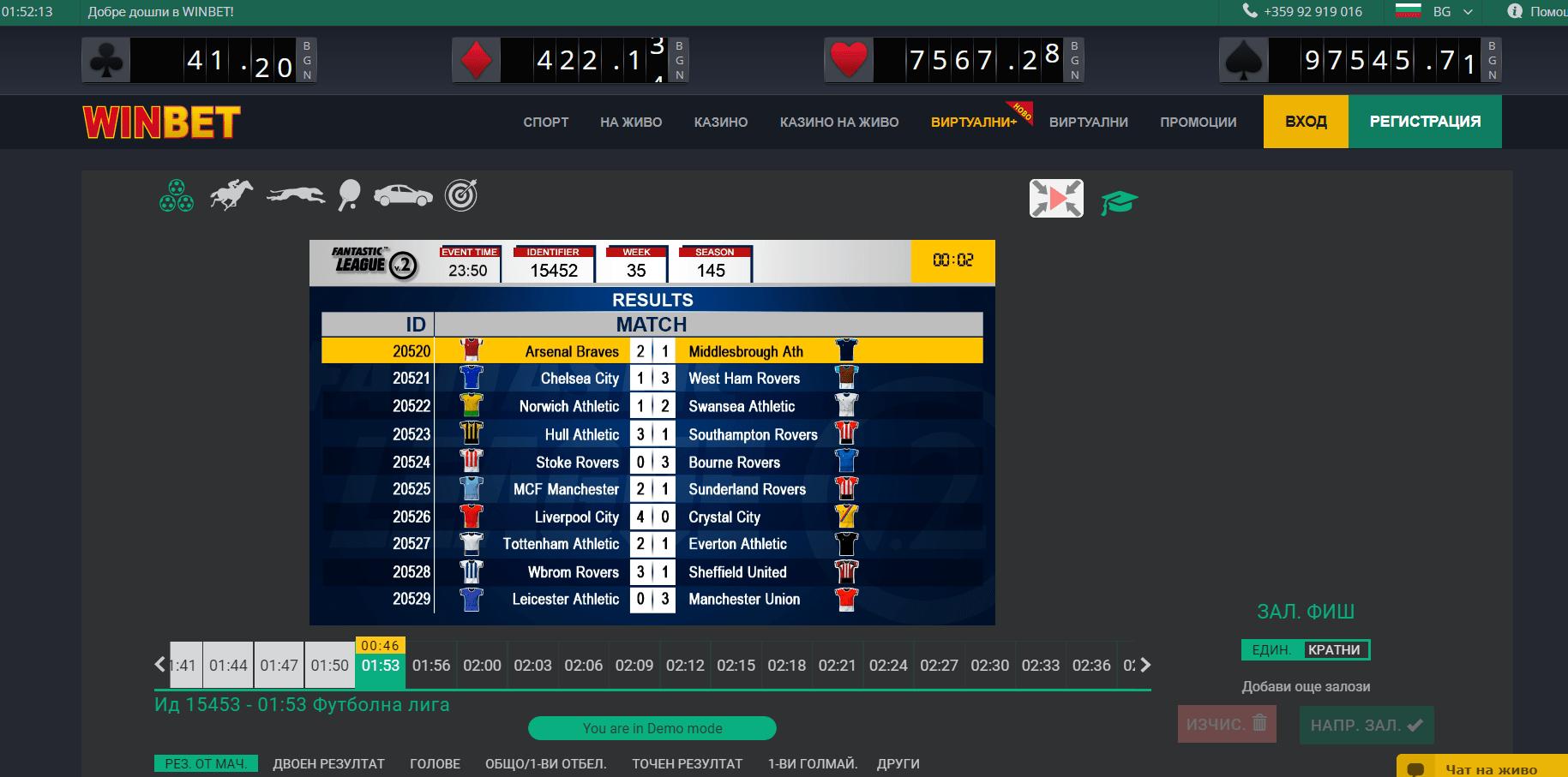 Winbet виртуални спортове