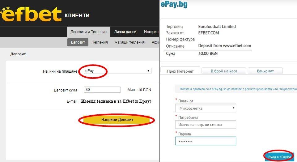 депозит чрез epay.bg в efbet
