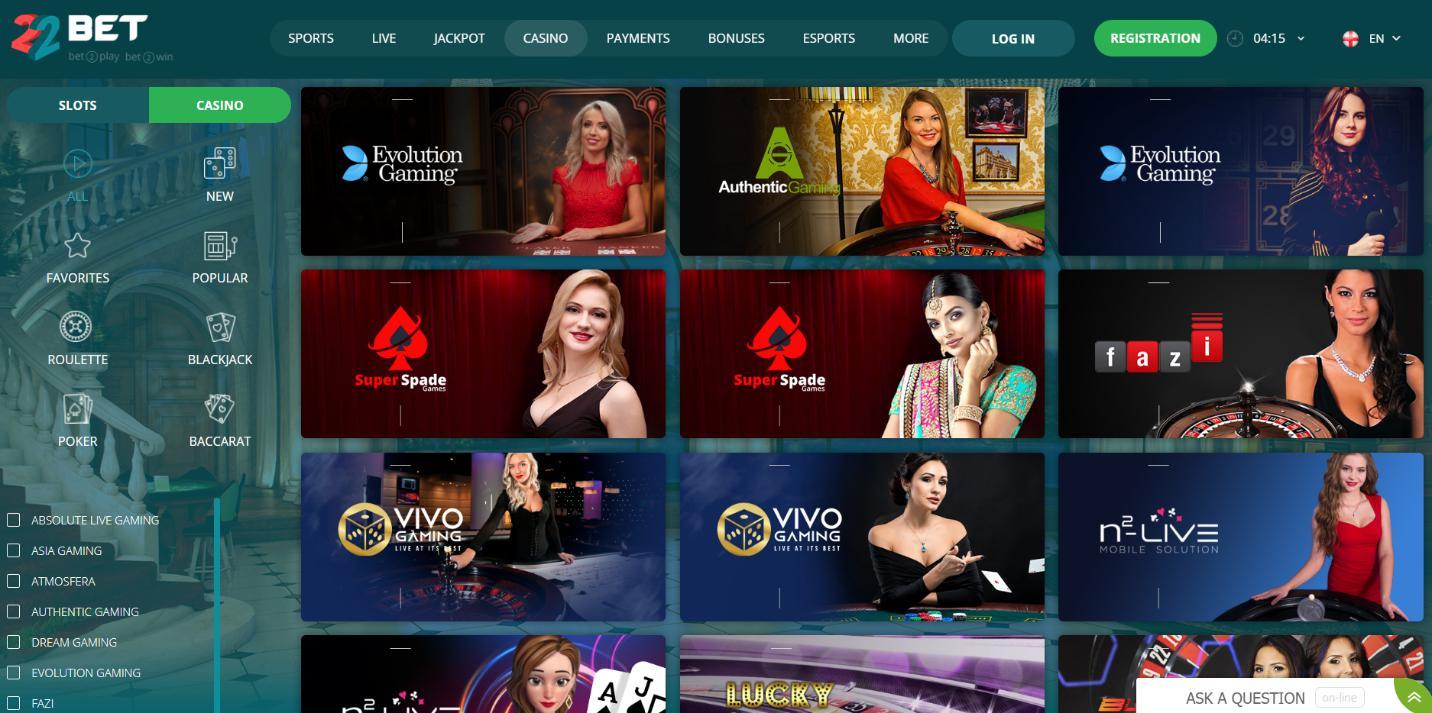 22 Бет казино на живо