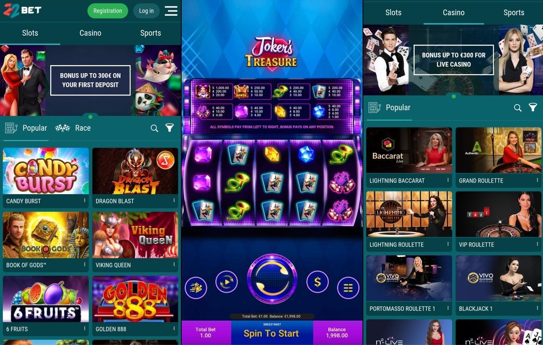22bet казино Мобилно приложение