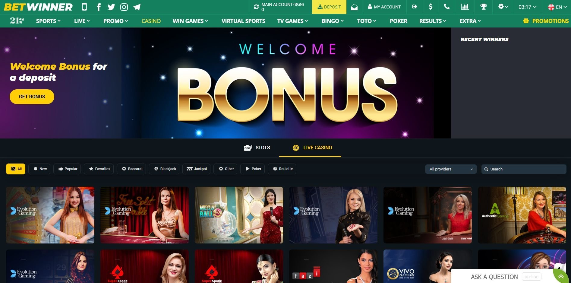 betwinner tv games
